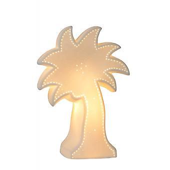 Cerâmica em forma de canto do Palm lucide Cottage lâmpada de mesa branco e branco