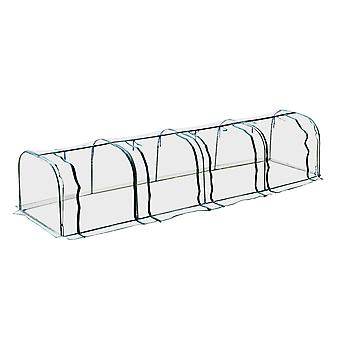 Outsunny Large Transparent PVC Tunnel Greenhouse Grow House Steel Frame Green Four Zipped Doors 400Lx100Wx80H cm