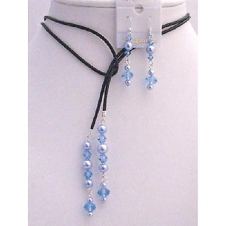 Blue Pearls Lariat Aquamarine Crystals Leather Necklace & Earrings Set