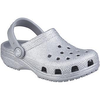 Crocs Girls Classic Glitter Slip On Summer Beach Clogs
