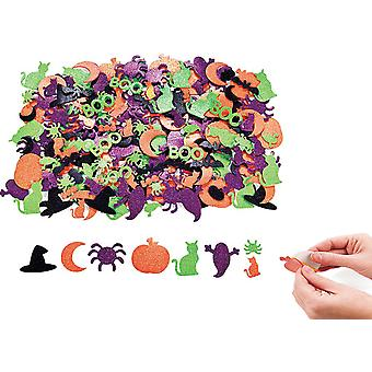 500 Glittered Halloween Self Adhesive Foam Spooky Shapes | Kids Halloween Crafts