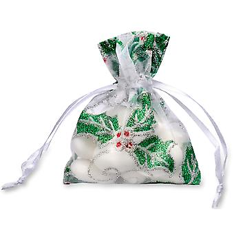 10 Small White Organza Christmas Favour Bags with Heavily Glittered Holly Design