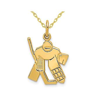 14K Yellow Gold Hockey Goalie Charm Pendant Necklace with Chain