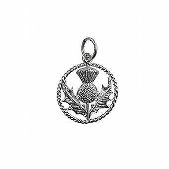 Silver 17mm Scottish Thistle Pendant with a twisted wire surround in a circle