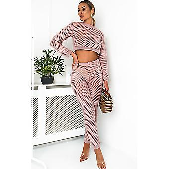 IKRUSH Womens Crochet Flora Lounge recortada Co-ord