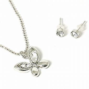 The Olivia Collection Rhinestone Set Butterfly Necklace & Stud Earring Set.