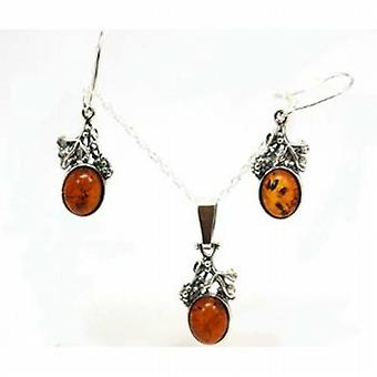 Toc Sterling Silver Amber Oval Drop Pendant and Earring Set