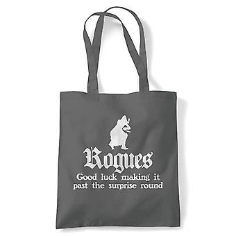 Rogues Tote | Paladin Kingmaker Rogues Knight Tower Shield Magic | Reusable Shopping Cotton Canvas Long Handled Natural Shopper Eco-Friendly Fashion