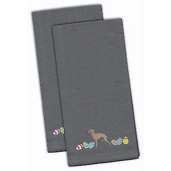 Italian Greyhound Easter Gray Embroidered Kitchen Towel Set of 2