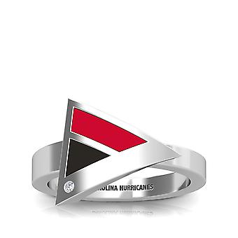 Carolina Hurricanes Carolina Hurricanes Engraved Diamond Geometric Ring In Red And Black