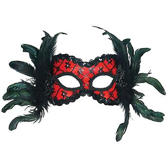Bristol Novelty Unisex Adults Feather And Lace Mask