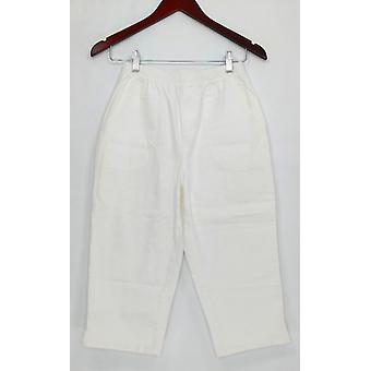 Denim & Co. Women's Pants 4 Pocket Pull-on Capri White A277647