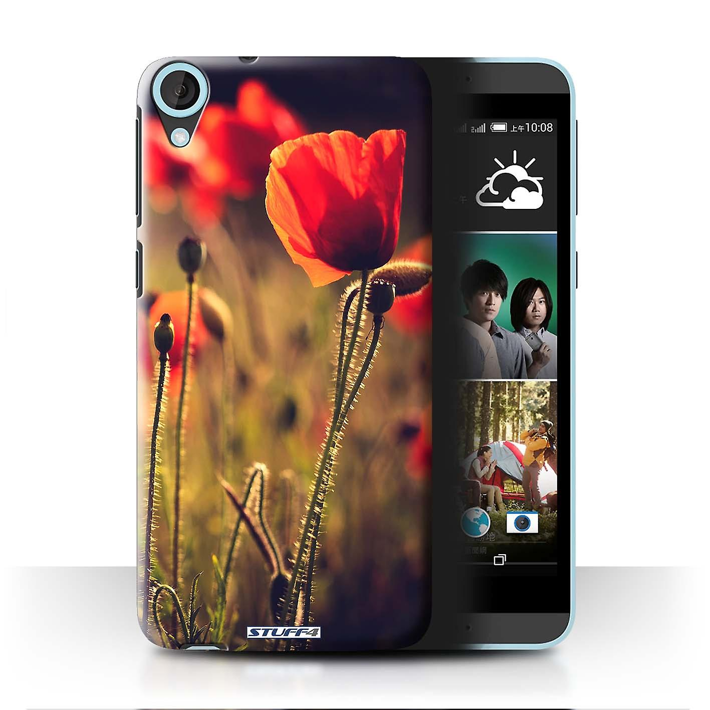 STUFF4 Case/Cover for HTC Desire 820q Dual/Red Flower/British Countryside