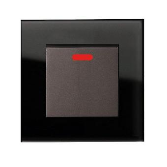 I LumoS AS Luxury Black Crystal Glass Single Switched 20A Switch