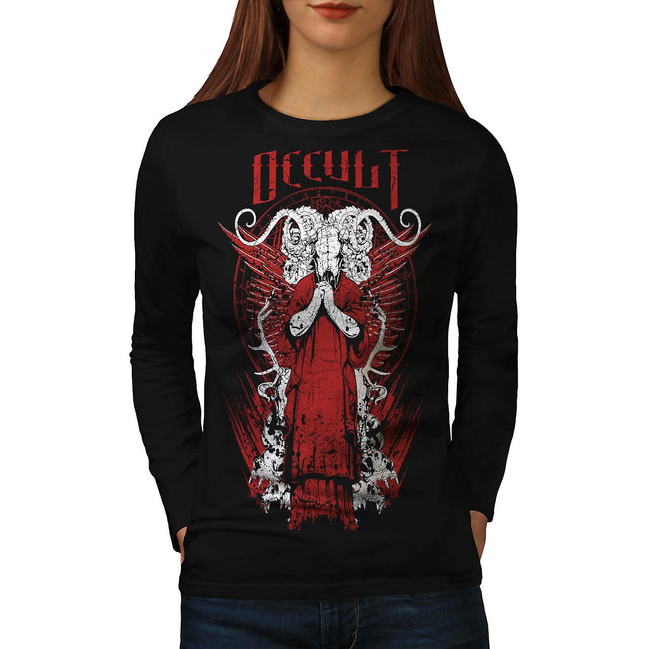 Morte occulta Robe Horror capra donna Black t-shirt manica lunga | Wellcoda