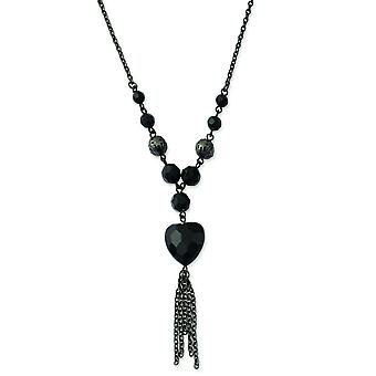 Black-plated Black Acrylic Beads 16inch With Ext Necklace