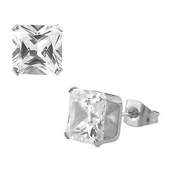 Square cubic zirconia stainless steel unisex ear studs