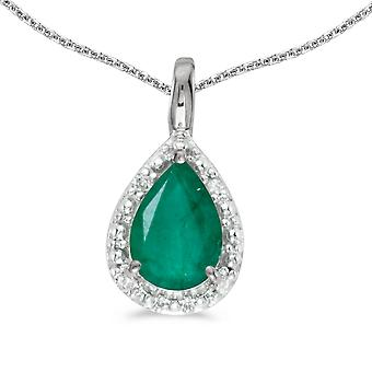 10k White Gold Pear Emerald Pendant with 18