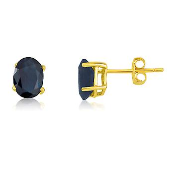 14k Yellow Gold Oval Sapphire Stud Earring