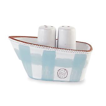 Lake Life Blue and White Boat Salt and Pepper Shaker Set Ceramic