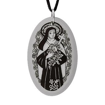 Handmade Saint Therese Oval Shaped Porcelain Pendant ~ 36 inch Black Cord