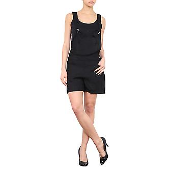 Ladies Black Dungaree Shorts Relaxed Fit Bib Overall Shorts Eyelet Straps