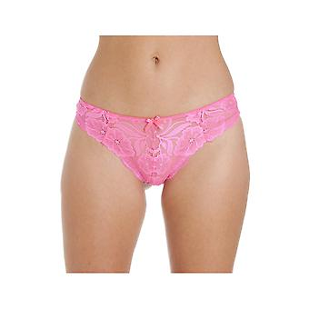 Camille Camille levande rosa blommig spets Thong