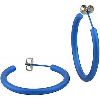 Ti2 Titanium 25mm Hoop Earrings - Navy