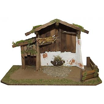 Christmas Nativity scene wood Nativity stable YAEL without figures 60 x 30 x 38 cm hand work from Bavaria for characters up to 15 cm