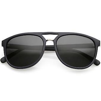 Premium Polarized Flat Top Aviator Sunglasses Metal Nose Bridge Round Lens 55mm