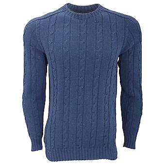 FLOSO Unisex Cotton Rich All Over Cable Knit Jumper (British Made)