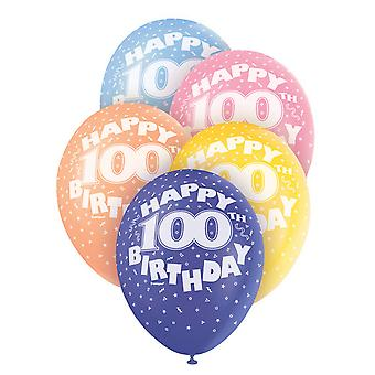 Unique Party 12 Inch 100th Assorted Latex Balloons (Pack Of 5)