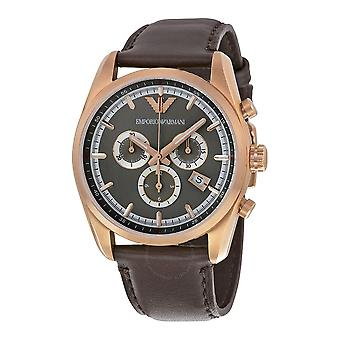 Emporio Armani AR6012 White Dial Gold Bezel Brown Leather Strap Men's Watch
