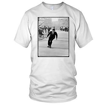 Man In Suit Skater - B&W Skateboarder Skateboard Ladies T Shirt