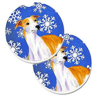 Whippet Winter Snowflakes Holiday Set of 2 Cup Holder Car Coasters