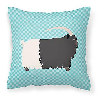 Welsh Black-Necked Goat Blue Check Fabric Decorative Pillow