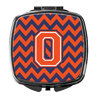 Carolines Treasures  CJ1042-OSCM Letter O Chevron Orange and Blue Compact Mirror
