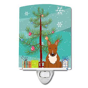 Merry Christmas Tree Bull Terrier Red Ceramic Night Light