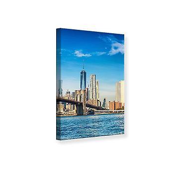 Kanvas Print New York Skyline og Brooklyn Bridge