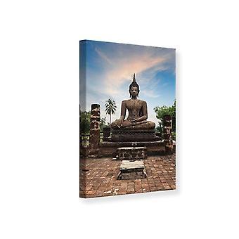 Leinwand drucken Buddha Statue in der Abenddämmerung