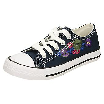 Girls Spot On Lace Up Pumps H2482 - Navy Canvas - UK Size 12 Kids - EU Size 30 - US Size 13