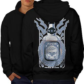 Death Drink Skull Men BlackHoodie Back | Wellcoda