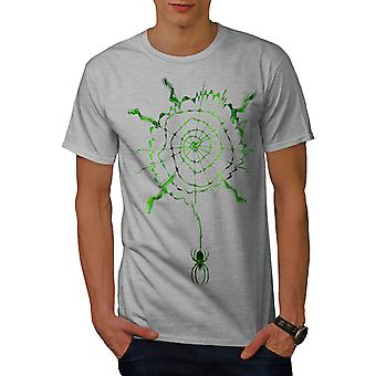 Spider Web Spiral Men GreyT-shirt | Wellcoda