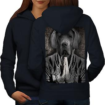 Alano Face per cani Cool donne NavyHoodie Back | Wellcoda