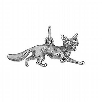 Silver 10x25mm running Fox Pendant or Charm