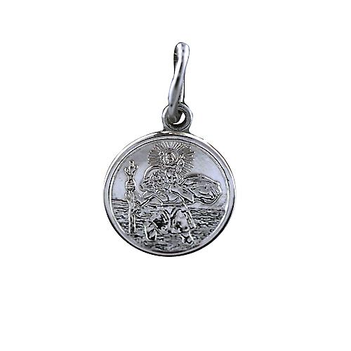9ct White Gold 10mm round St Christoper Pendant Only Suitable for Children