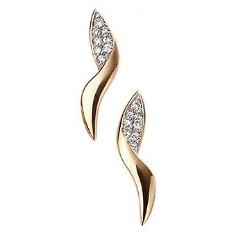 Elements Gold Diamond Pave Swirl Stud Earrings - Gold/Clear
