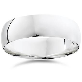 950 palladium 7mm Mens Plain gepolijste trouwring Ring
