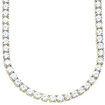 Premium bling - Sterling 925 Silver CZ necklace - 5mm gold