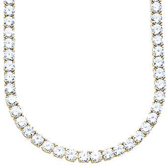 Oro de 5mm de bling - collar de CZ de plata esterlina 925 - Premium